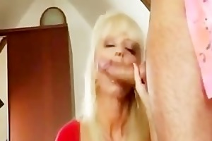 hawt blond granny banging in gold boots
