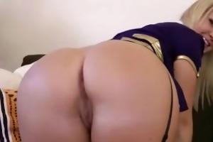 obscene golden-haired babe in nylons