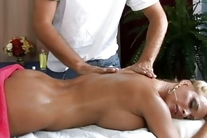 sexy busty blond milf getting a great massage