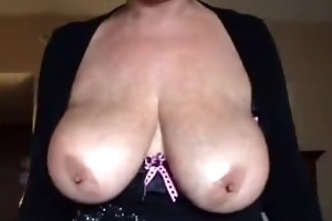 golden-haired breasty mature blow job and titfuck