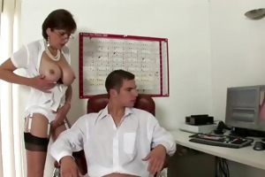 aged woman receives jizz flow suprise from