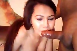 breasty oriental wife swallows