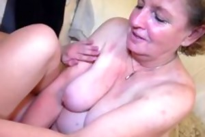 granny masturbate with youthful pair on the couch