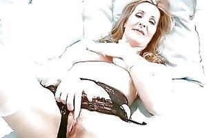 lewd mature in underware finger masturbation