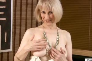 curly older masturbation with beads