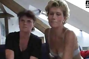 four excited older bitches sharing cock