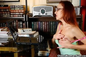 stylish aged lady masturbates in pants and hose