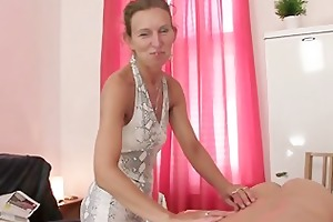 granny masseuse acquires her bushy gap nailed