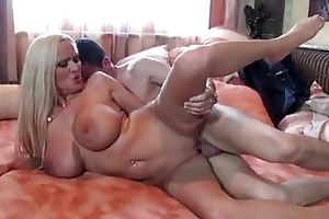 enormous chested older blond in nylons gets hard