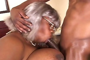bbw dark grandma receives a piece of hunk pounder