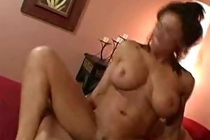 busty mama rides large cock!