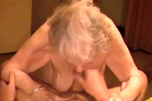 ejaculation on granny saggy boobs with 85yo