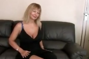 busty aged fingering her hirsute slit