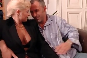 aged woman and blond sex bomb getting