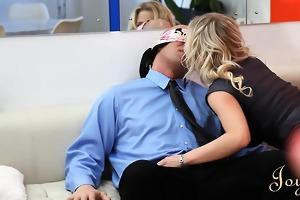 lustful secretaries love blowing the large boss