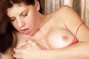 breasty mom loves toys in bushy pussy
