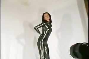 cute rubber honey streching her legs and teasing