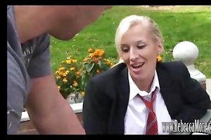 breasty blond as excited schoolgirl rebecca
