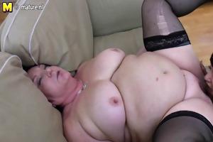 obese granny copulates 2 juvenile lesbos