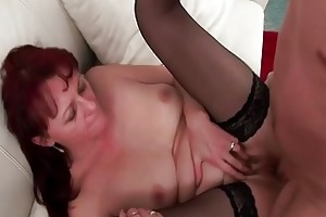 horny guys share one granny prostitute