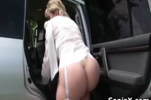 slutty older masturbates snatch in the car