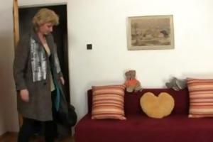 blond granny jumps on youthful jock