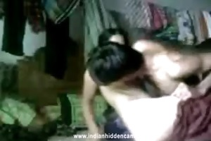 juvenile newly married indian pair engulfing and