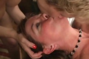 older jizz paramour getting team-fucked
