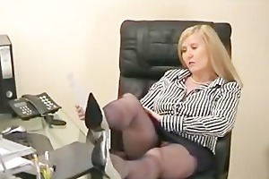 obese secretary teases in the office in blue silk