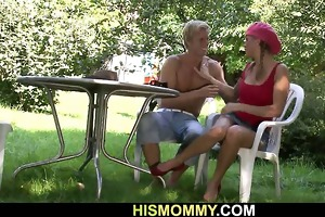busty mama seduces his cute angel