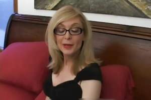 golden-haired mommy in glasses licking inflexible