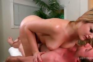 oily blonde rubbing mangos against her masseurs