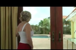 golden-haired older in red and dark nylons