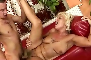 granny acquires drilled hard in the kitchen