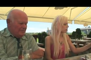 blond chick fucking an old guy and taking jizz