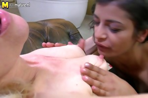 four old and youthful lesbo group sex