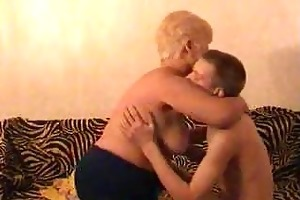old blond granny satisfies a guy