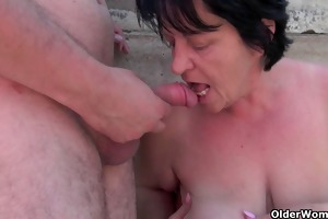 bulky grandma with rock hard teats acquires