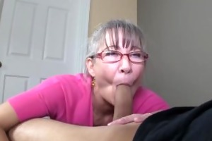 slim greyhaired granny sucks my dong