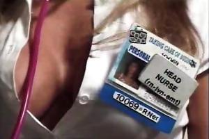 blond nurse boob tease