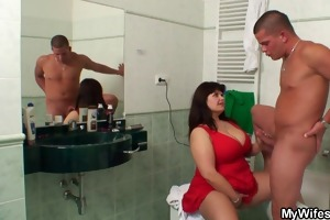 breasty mama and son-in-law caught in baths