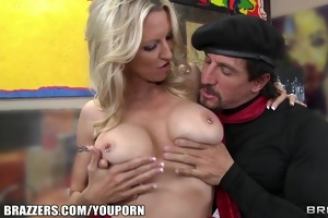 aged blond mother i shows off her pierced nipples