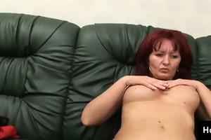 excited redheaded mother i rubs her lewd bald