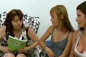 aged lesbian has trio with shy teen