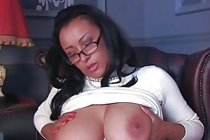 arousing darksome haired mother i wth glasses and