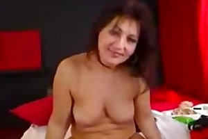 hot breasty mature fingering bushy cum-hole