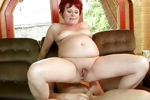 chubby grandma gets her taut cookie drilled hard