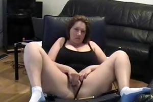 older lady fingering vagina in living room