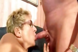 nerdy granny with eyeglasses acquires fucked hard