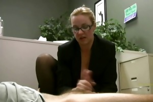 employee receives masturbated by his excited lady